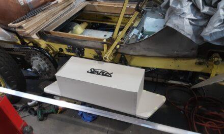 Kist ontworpen voor de American Lafrance nu nog karton straks van hout en aluminium